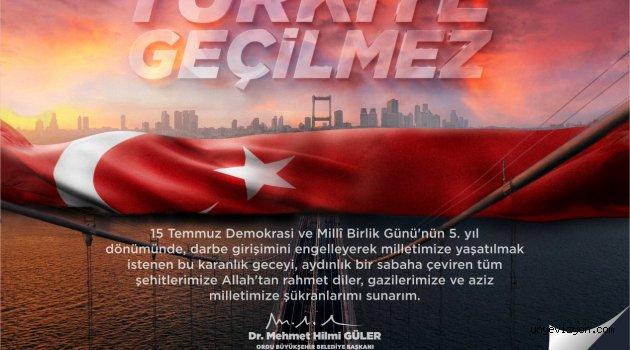 """""""15 Temmuz Demokrasi ve Milli Birlik Günü"""" anma mesajı"""