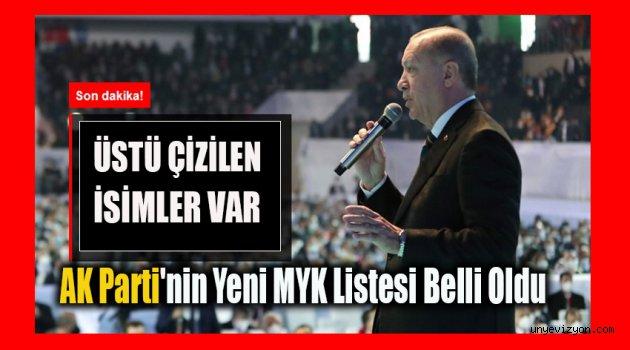 AK Parti'nin Yeni MYK Listesi Belli Oldu