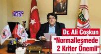 """Dr. Ali Coşkun, """"Normalleşmede 2 Kriter Önemli"""""""