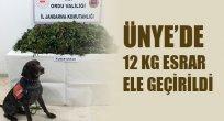ÜNYE'DE 12 KG ESRAR ELE GEÇİRİLDİ