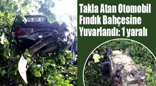 Takla atan Otomobil Fındık Bahçesine Yuvarlandı: 1 yaralı