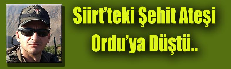 Siirt'teki Şehit Ateşi, Ordu'ya Düştü